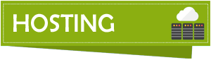 A small banner with green background color, text displaying Hosting, and three small servers below a white cloud