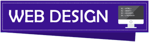 A small banner with purple background color, text displaying Web Design, and a computer screen