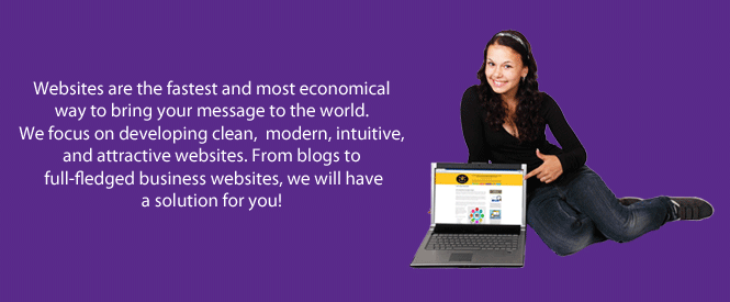 A Website Design Banner displaying text about web design for websites, with a girl sitting by a laptop and pointing to the website on the laptop screen