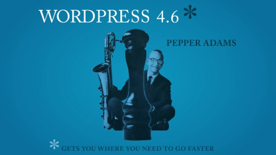 Jazz player Pepper Adams on the promotion image for the release version 4.6 of WordPress.